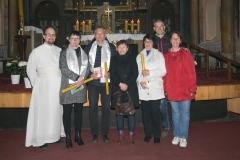 Novokřtěnci s kmotry a P. Řehořem